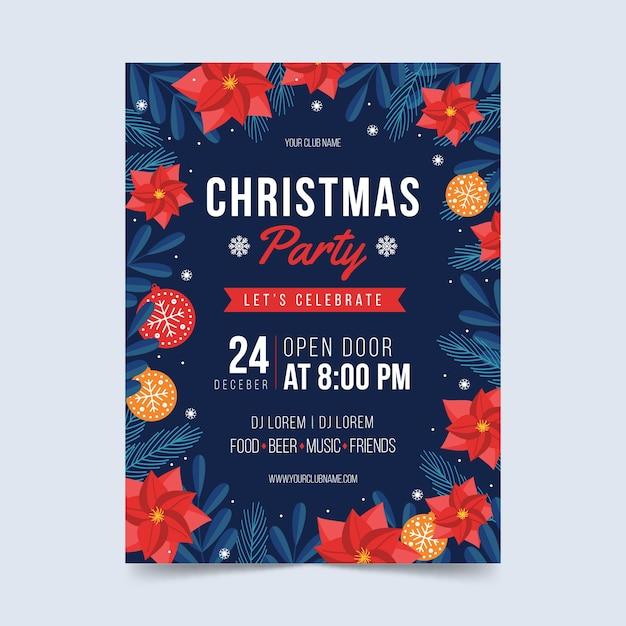 フラットなデザインのクリスマスパーティーのフライヤーテンプレート 無料ベクター