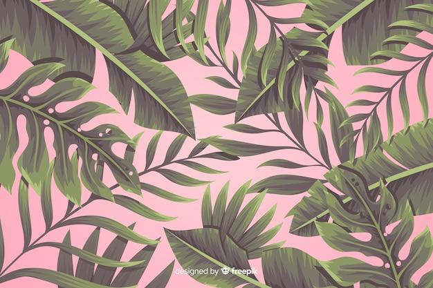 熱帯の花の背景 無料ベクター