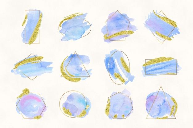 水彩ブラシストロークでキラキラフレームコレクション 無料ベクター
