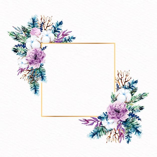 Художественная золотая рамка с зимними цветами Бесплатные векторы