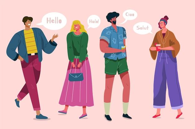 さまざまな言語を話している人々とイラストのコンセプト 無料ベクター