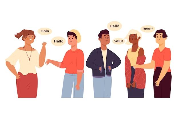 異なる言語で話しているキャラクターのグループ 無料ベクター