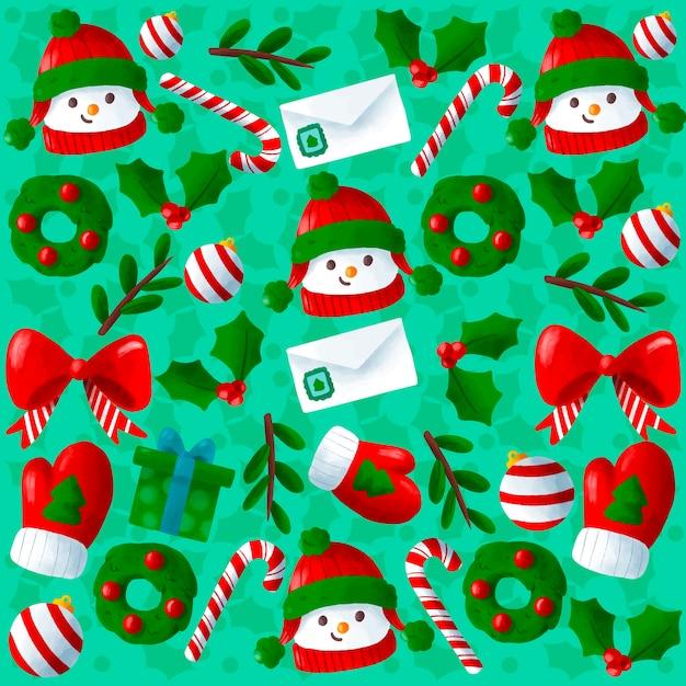 かわいい手描きクリスマス背景 無料ベクター