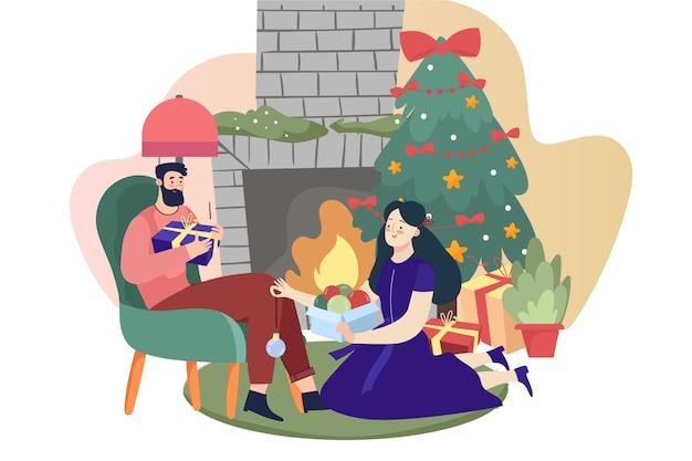 手描きのクリスマス暖炉シーンコンセプト 無料ベクター