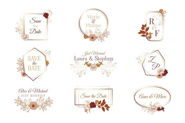 Коллекция свадебных вензелей Бесплатные векторы