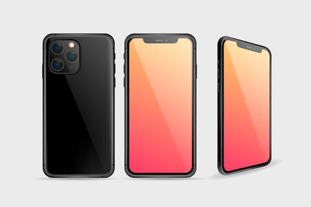 Реалистичный смартфон спереди и сзади Бесплатные векторы