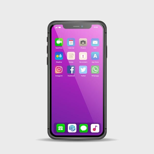 さまざまなアプリを搭載したスマートフォン用のリアルなディスプレイ 無料ベクター