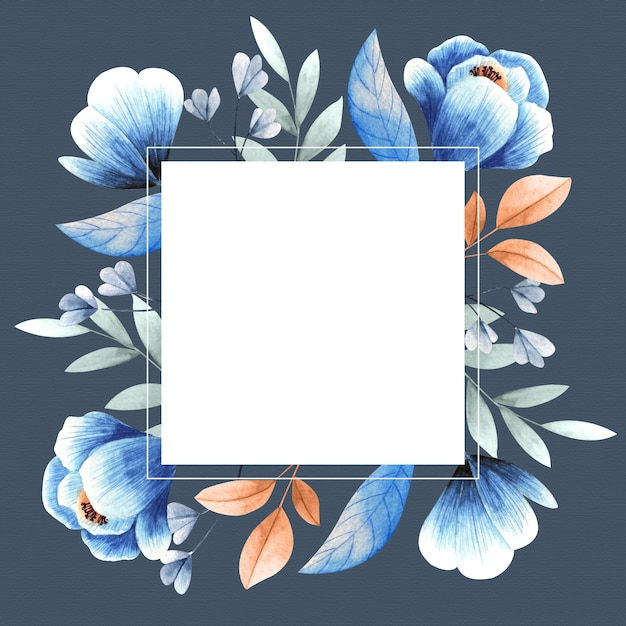 Красочные зимние цветы с квадратной пустой баннер Бесплатные векторы
