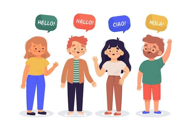Иллюстрация молодых людей, говорящих на разных языках Бесплатные векторы