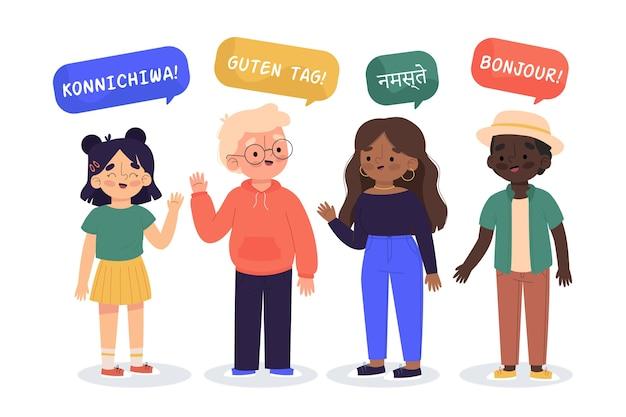 Иллюстрация молодых людей, говорящих на разных языках коллекции Бесплатные векторы
