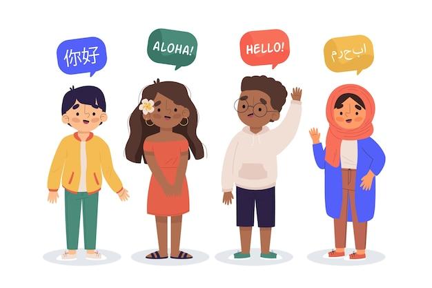Иллюстрация молодых людей, говорящих на разных языках набор Бесплатные векторы