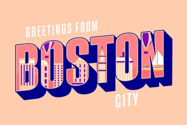 Бостонская городская надпись Бесплатные векторы
