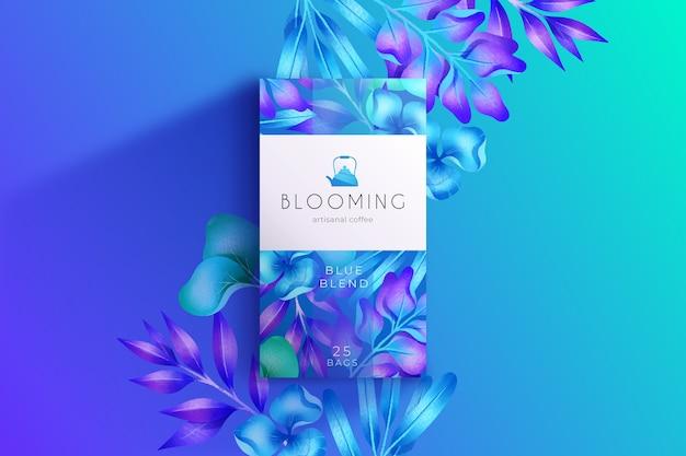青い水彩花の壁紙 無料ベクター