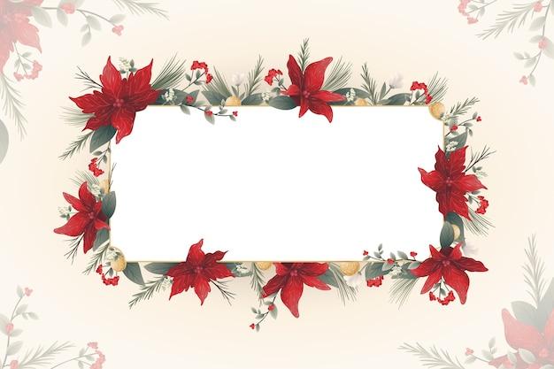 Красные зимние цветы с пустым знаменем Бесплатные векторы