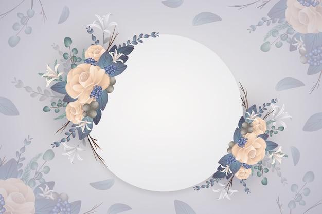 空のバッジと冬の花の背景 無料ベクター