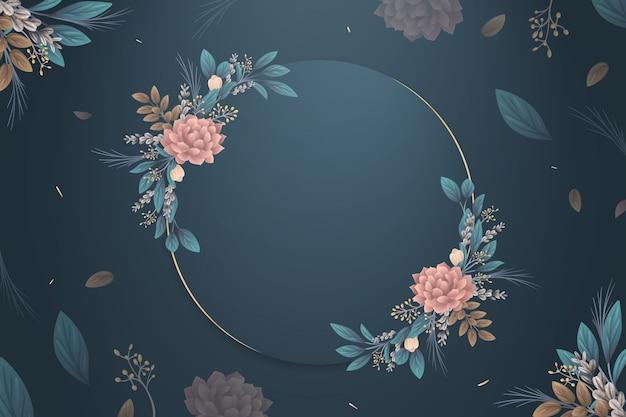 Зимние цветы обои с пустым значком Бесплатные векторы