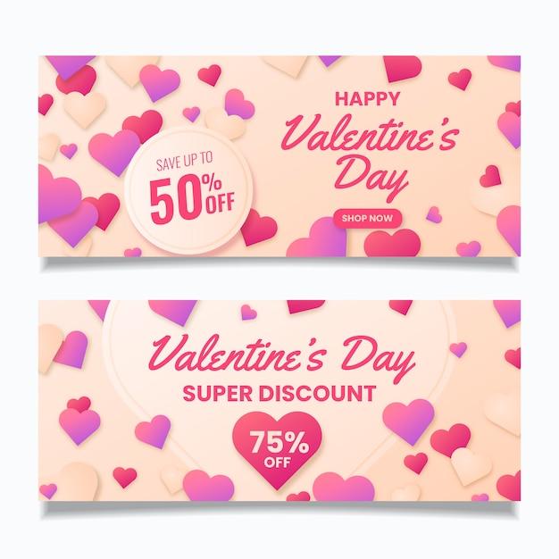 Продажа баннеров на день святого валентина в плоском дизайне Бесплатные векторы