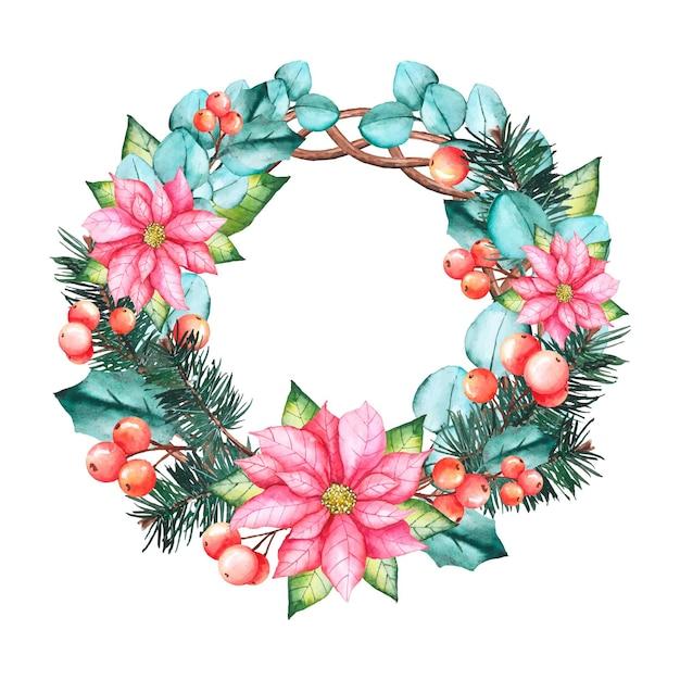 Акварель рождественский венок концепция Бесплатные векторы