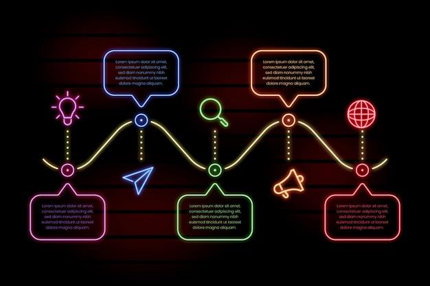 Инфографики шаблон в неоновом стиле Бесплатные векторы