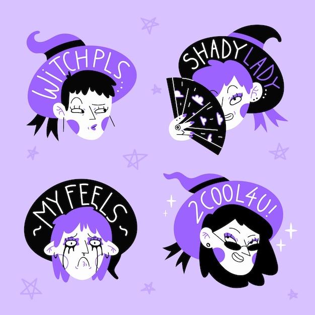 Набор рисованной наклейки с фиолетовыми и черными ведьмами Бесплатные векторы