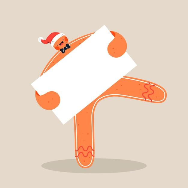 空のバナーを保持しているサンタさんの帽子を持つ面白いジンジャーブレッド人 無料ベクター