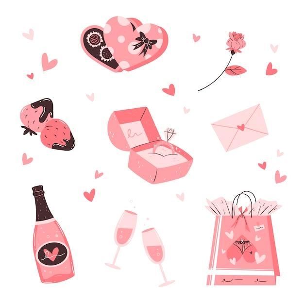 手描きのバレンタインデーの要素のコレクション 無料ベクター