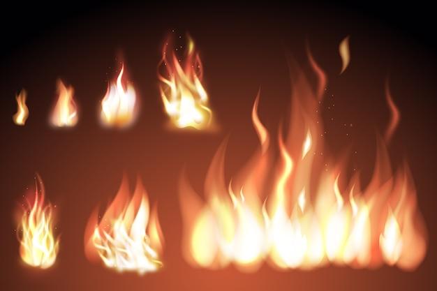 輝きと現実的な火の炎のセット 無料ベクター
