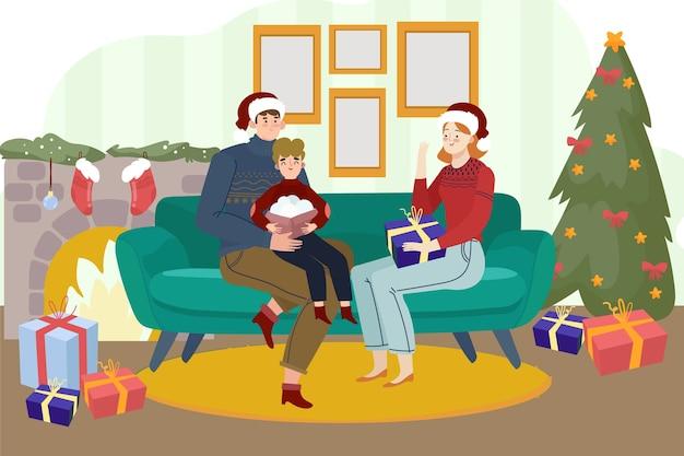 Красивая семья с елкой и камином Бесплатные векторы