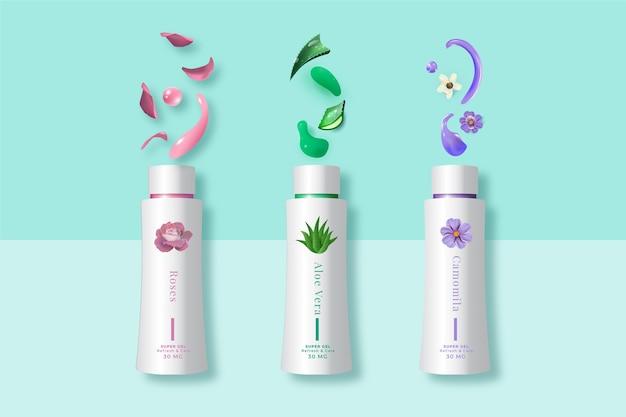 さまざまな植物の広告と化粧品クリーム 無料ベクター
