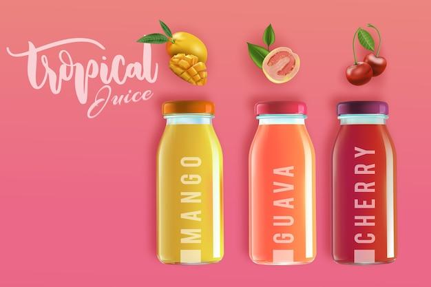 Вкусный тропический натуральный сок Бесплатные векторы