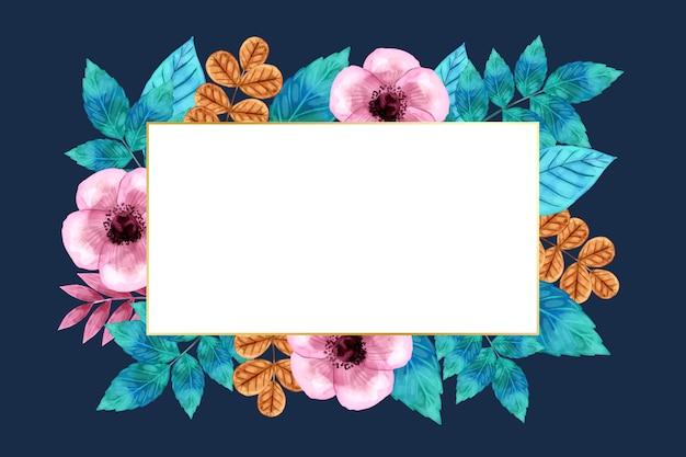 Зимние цветы с пустым баннером Бесплатные векторы