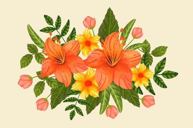 Урожай цветочный букет Бесплатные векторы