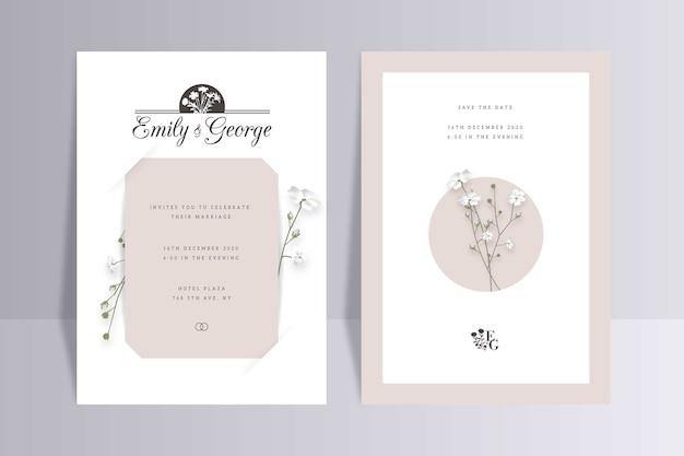 Элегантный минималистичный цветочный шаблон свадебного приглашения Бесплатные векторы