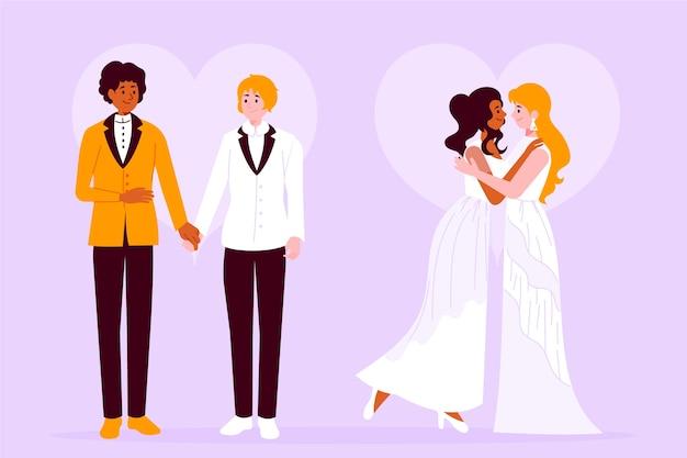 Художественная иллюстрация со свадебными парами Бесплатные векторы