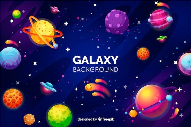 カラフルな惑星と銀河の背景 無料ベクター