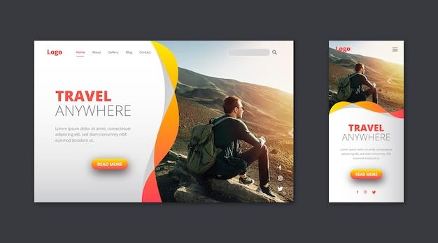 Целевая страница веб-шаблона для путешествий Бесплатные векторы