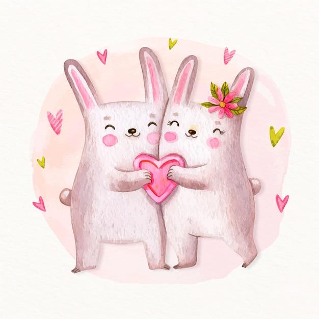 手描きのバレンタイン動物のカップル 無料ベクター