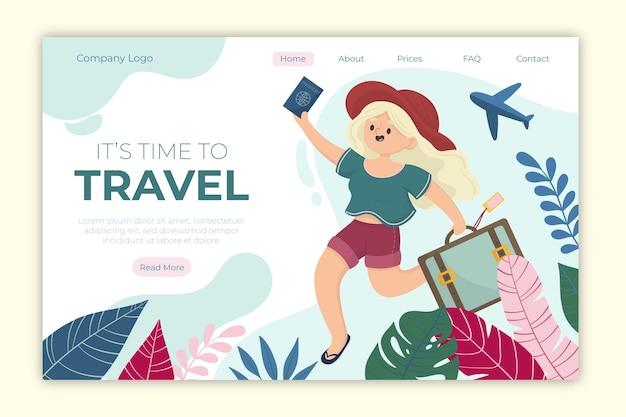 Шаблон целевой страницы путешествия Бесплатные векторы