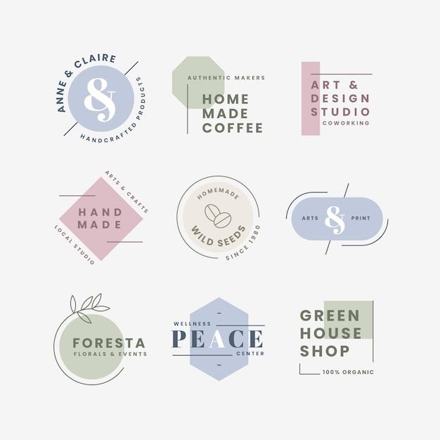 Минимальная коллекция логотипов в пастельных тонах Бесплатные векторы