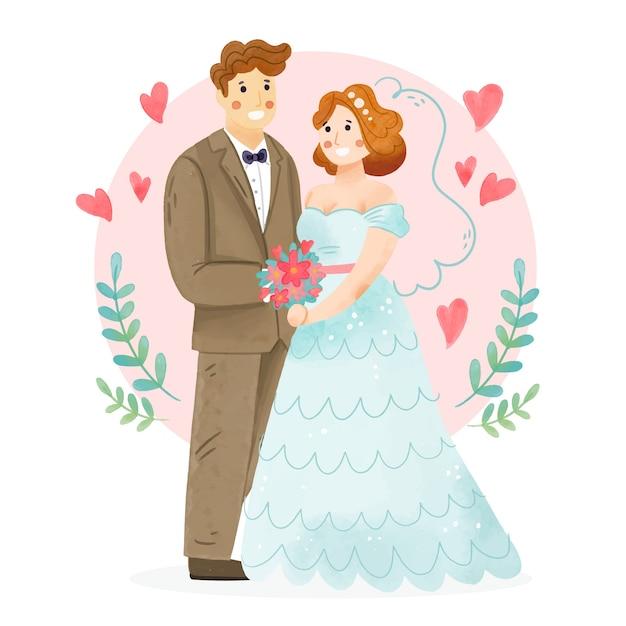 Акварельная свадебная пара иллюстрирована Бесплатные векторы