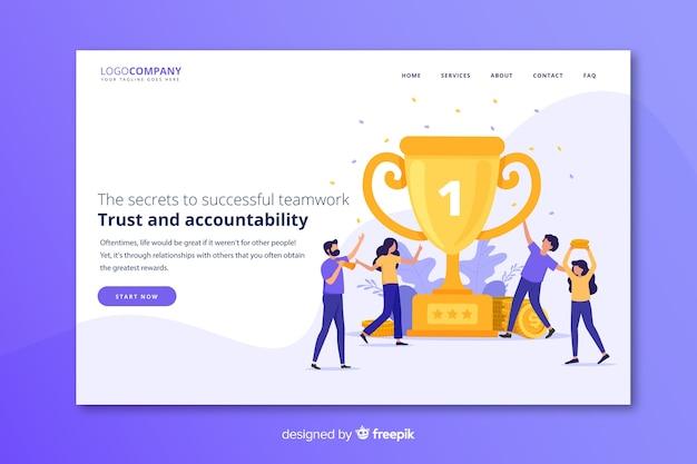 Целевая страница успеха команды Бесплатные векторы