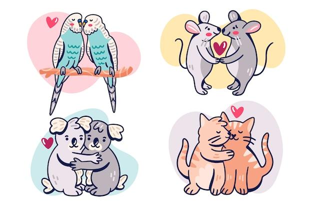 愛らしいバレンタインの日の動物のカップル 無料ベクター