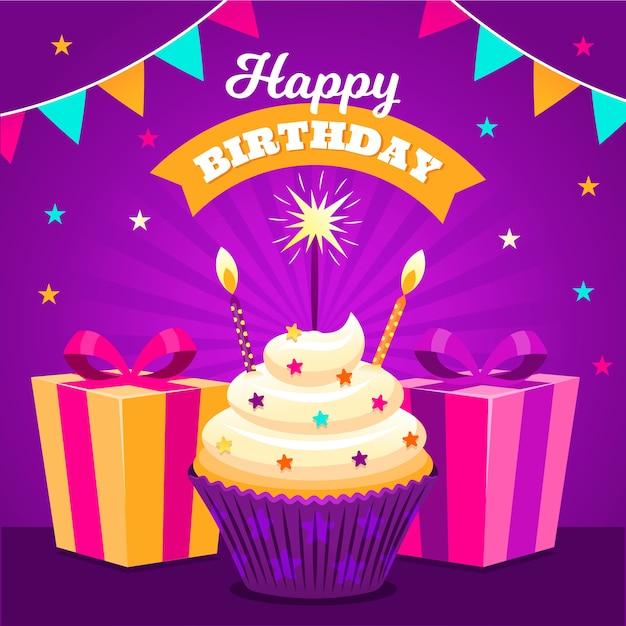 プレゼントとカップケーキでお誕生日おめでとう 無料ベクター