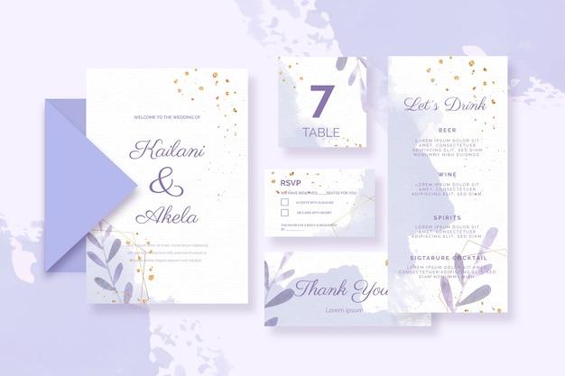 Разнообразные паперри для свадьбы в голубых тонах Бесплатные векторы