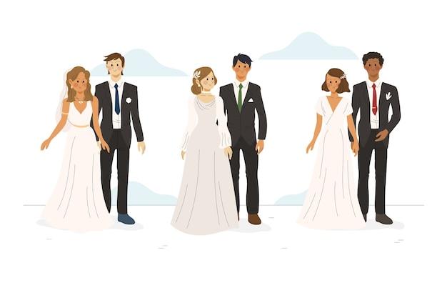 Ручной обращается свадебные пары Бесплатные векторы