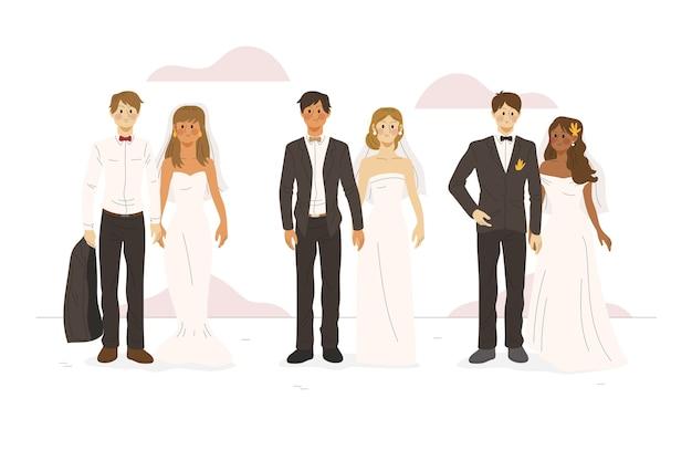 手描きの結婚式のカップル 無料ベクター
