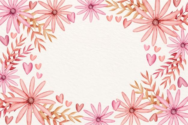 水彩でバレンタインデーの背景 無料ベクター