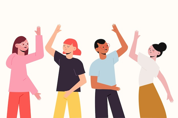 Люди, дающие высокие пять иллюстраций Бесплатные векторы