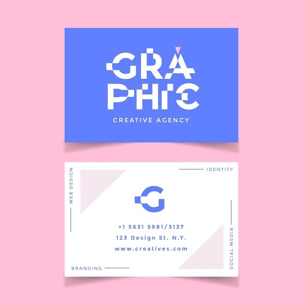 Прикольная визитка графического дизайнера Бесплатные векторы