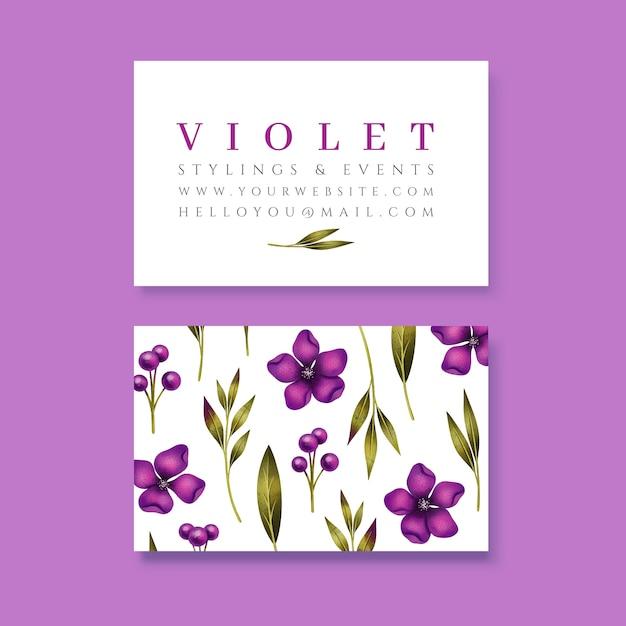 Реалистичные рисованной цветочный шаблон визитной карточки Бесплатные векторы